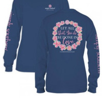 "Simply Southern YOUTH "" Done In Love"" Long Sleeve Tee- Blue"