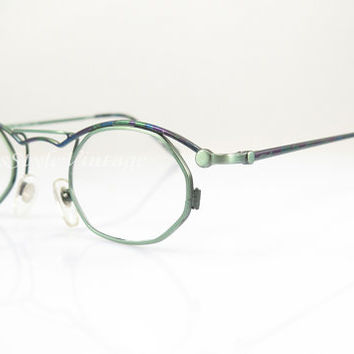 1990s , Vintage Eyeglasses , Green Blue Purple Mosaic Color , Crazy , Hipster , New Old Stock , Sunglass Frames