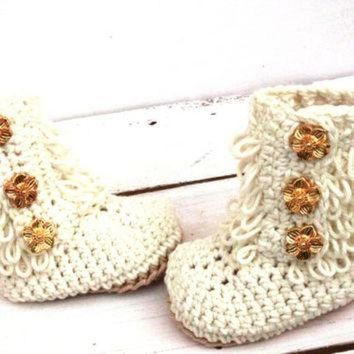 CUPUPS Crochet Ankle Boots, Baby Girl Booties, Baby Ugg Boots