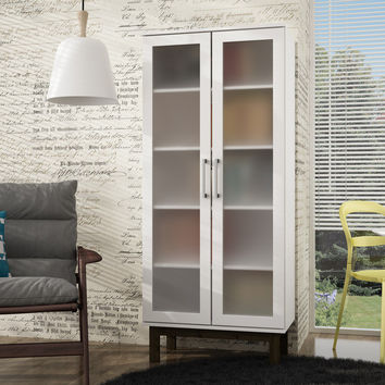 Serra 2.0- 5- Shelf Bookcase in  White and Wooden Legs