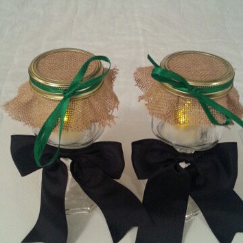 Burlap black green wedding candle jar / center piece set. Any color to match your wedding