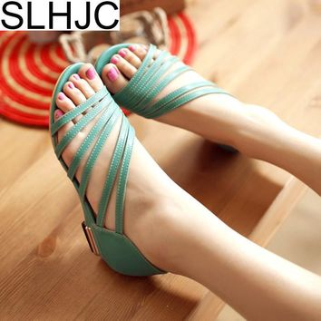 SLHJC 2018 Summer New Sandals Open Toe Low Heels Leather Casual Sandals Wedges Heels Pumps Shoes 3.5 cm Heel Size 34-42