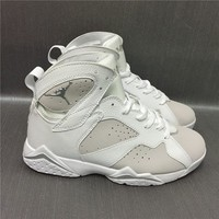 Air Jordan Retro 7 Pure Money Basketball Shoes Men 7s White Metallic Silver Pure Platinum Sneakers High Quality With Shoes Box