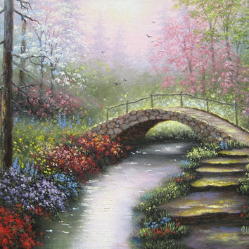 Spring Creek Oil Painting bridge country wall by VickieWadeFineArt