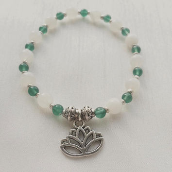 Yoga | Grounding for a new start | Lotus Flower | Silver | Green Onyx | Moonstone | Gemstone | Healing | Bracelet | Mindfulnessbracelet