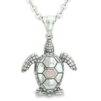 Amulet Sea Turtle Cute Pink Cats Eye Crystal Pendant 22 Inch Necklace