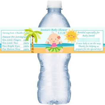 21 Lual Baby Shower Water Bottle Labels Light Skin Girl