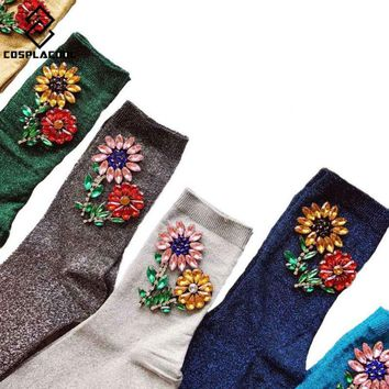 [COSPLACOOL]New Arrived Korean Style Fashion Women Socks Winter Gem Sun Flower Gem Candy Color Hand-made Socks Meias Calcetines