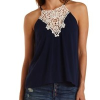 Navy Combo Crochet-Bib Swing Tank Top by Charlotte Russe