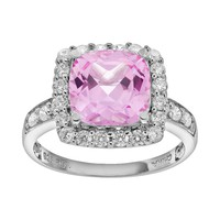 Lab-Created Pink Sapphire & Cubic Zirconia Sterling Silver Tiered Square Halo Ring