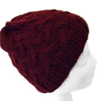 Womens Cable Knit Hat Beanie Red Cap Handmade