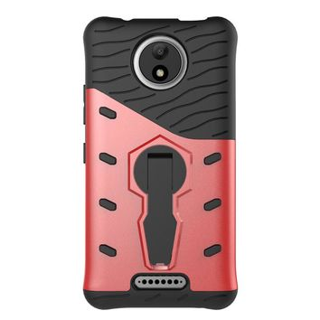 For Motorola Moto C Shockproof Phone Case Silicone TPU+Hard PC 360 Rotating Kickstand Dual Armor Back Cover Mobile Phone Shell