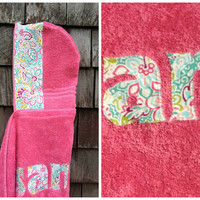 Girls Personalized Hooded Towel Pink with multi colored floral fabric Beach Pool Bath Swim Towel Girls Kids Children Birthday Hanukkah Gift