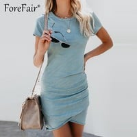 Forefair Thin Summer Dress 2018 Women Sundress Short Sleeve O Neck Ruched Bodycon Dress Ladies Casual Solid T Shirt Dresses