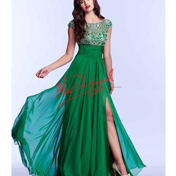 Mac Duggal 10008M Elegant Emerald Green Open Back Gown 2015 Prom Dresses