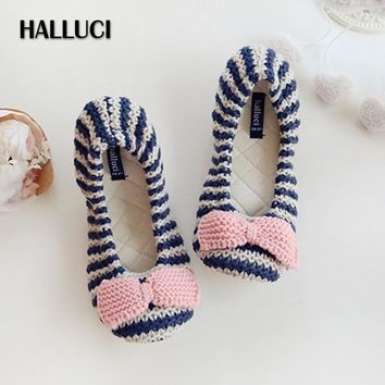 HALLUCI Stripe knitted house flats shoes woman cute bowknot ballet sapatos mulher slip