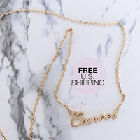 Cancer Zodiac Necklace – Gold Cursive Nameplate