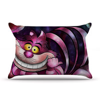 "Mandie Manzano ""Chesire Cat"" Pink Purple Pillow Case"