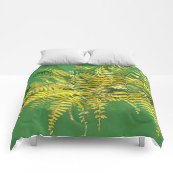 Golden Fern, floral art, green and yellow Comforters by Clipso-Callipso