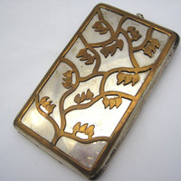 Vintage Cigarette Case - Brass Tree Overlay - Silver Plated