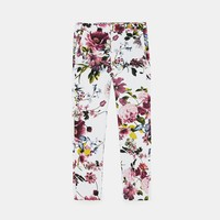 FLORAL PRINT CHINO TROUSERS
