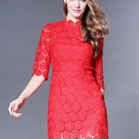 Red Crochet Lace Half Sleeve High Waisted Mini Dress