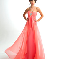 Mac Duggal Prom 2013 - Light Coral Halter Gown With Rhinestone Embellishments - Unique Vintage - Cocktail, Pinup, Holiday & Prom Dresses.