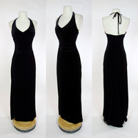 1990s black velvet dress, stretch body con maxi floor length halter gown, Small