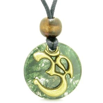 Ancient OM Tibetan Amulet Magic Powers Green Moss Agate Coin Medallion Pendant Necklace