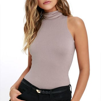 Alive and Kicking Taupe Sleeveless Turtleneck Top