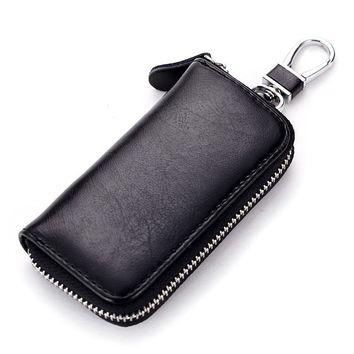 Genuine Cow Leather Men & Women Car Key Bag Wallet Multi Function Key Case Fashion Housekeeper Holders 6 Key Rings QB19