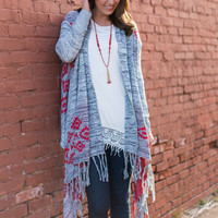 Have It All Cardigan, Red-Gray