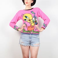 Vintage 90s Sweater Pink Rave Cartoon TWEETY Bird Looney Tunes Kawaii Sweater Club Kid Knit 1990s Pullover Jumper Novelty XS Extra Small