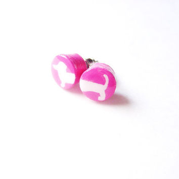 Hot Pink Wiener Dog Wooden Earring Studs  - Hotdog Mismatched Earrings - Puppy Dog Dachshund Jewelry