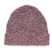 BURGUNDY AND WHITE BEANIE - TOPMAN USA
