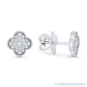 0.31 ct Round Brilliant Cut Diamond Pave Flower Stud Earrings in 18k White Gold