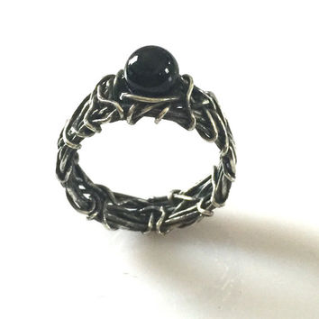 Onyx Engagement Ring, Filigree Ring, Rustic Wedding, Gothic Wedding Ring, Unique Engagement Ring, Affordable Engagement Ring