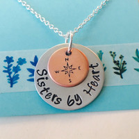 Sisters by Heart Necklace, Best Friend Necklace , Not by blood, Sisters by Heart, Best Friend Gift, Long Distance