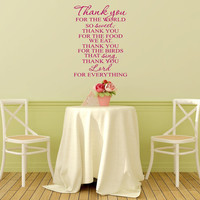 Thank you for the food we eat. Thank you Lord for everything vinyl wall decal wall quote vinyl lettering Kitchen dining wall decal