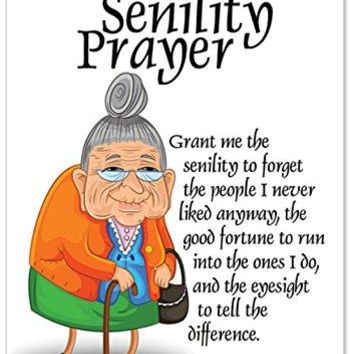 Senility Prayer Unique Funny Birthday Card  - Free Shipping