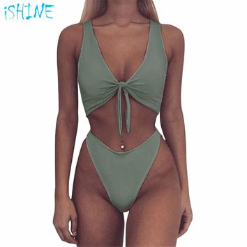 Women Sexy Thong One Piece Swimsuit Deep Plunging Front Knotted Trikini High Cut Out Bathing Suit Monokini Brazilian Swimwear