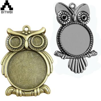 BITWBI 10pcs 25MM Owl Bird Pendant Blanks Setting Tray for Glass Cameo Cabochons Zinc Alloy Antique Diy Jewelry Accessories