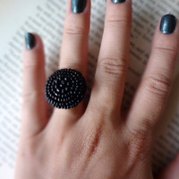 Vintage Black Beaded Button Cocktail Ring by SecondEditionJewelry