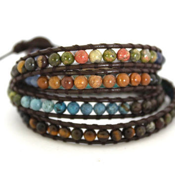 Extra Long Organic Triple Leather Beaded Wrap Bracelet. Brown Green and Blue Stones OOAK Made To Order