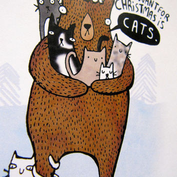 All I want for Christmas is Cats - A6 Greeting Christmas Card