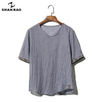 PEAPGC3 SHAO BAO brand clothing cotton and linen short-sleeved T-shirt men's 2017 summer thin paragraph loose t-shirt large size M-5XL