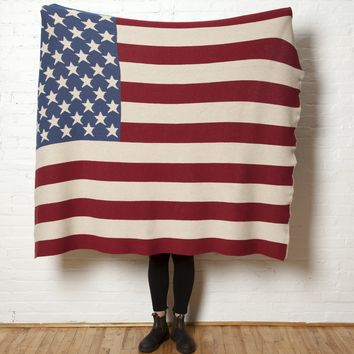 Eco-Friendly Made in USA Blanket Vintage American Flag
