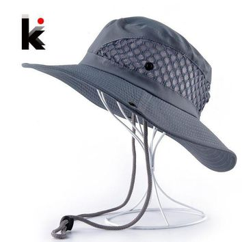 PEAP78W Summer Bucket Hat Breathable Mesh Beach Hats Man Wide Brim Sun Gorra Mujer Men's Outdoors Foldable UV Protection Fishings Caps