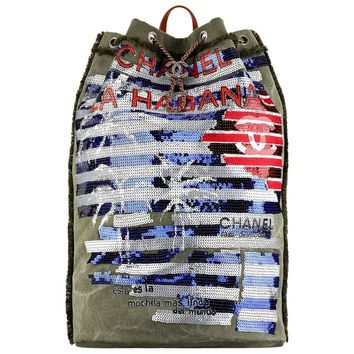 Chanel Cubano Trip Large Canvas and Sequin Backpack bag