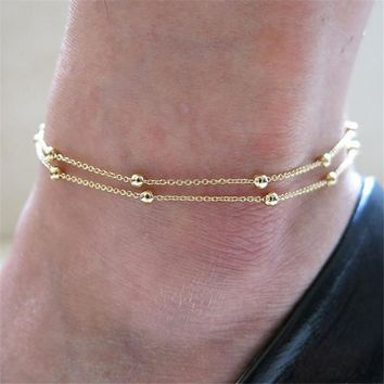 Womens Boho Double Gold Beads Chain Ankle Bracelet